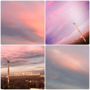 Pink sky in Bucharest